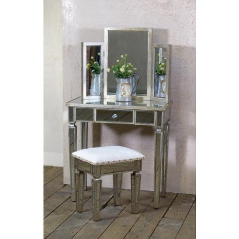Venetian glass vintage glam mirrored silver dressing table set