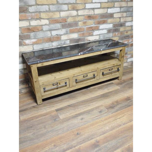 Retro Industrial Wood TV Media Unit with Marble Top (138 x 40 x 57cm)