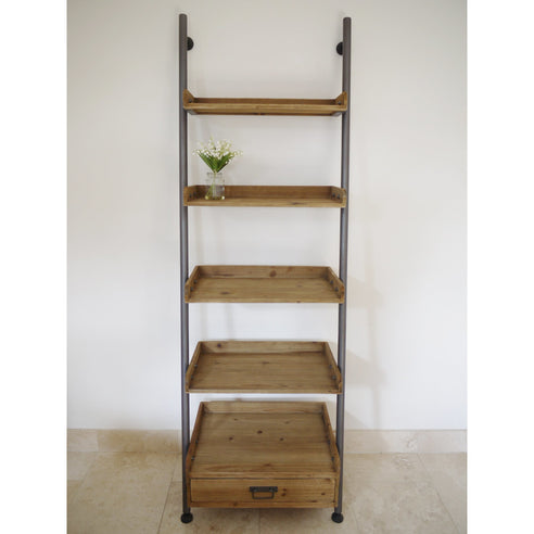 Retro Industrial Metal and Wood Ladder Style Shelves Unit (67 x 200 x 43cm)