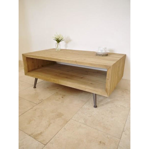 Retro Industrial 50's Style Wood Coffee Table (110 x 43 x 60cm)