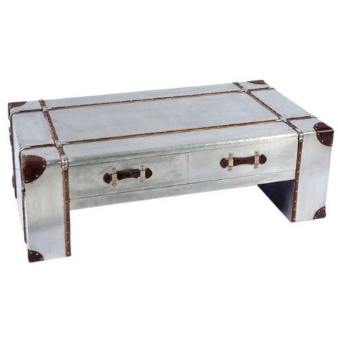 Silver Industrial Style Aluminium Coffee Table (122 x 70 x 41cm)