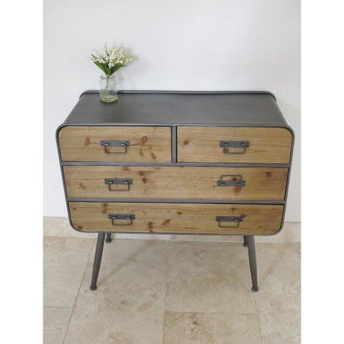 Retro Industrial 50's Style Metal/Wood Chest of 4 Drawers (89 x 41 x 85cm)