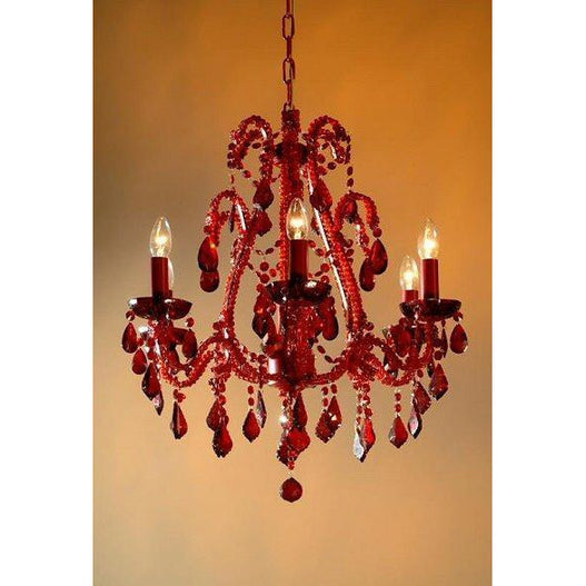 Shabby chic Miranda red chandelier 6 arm