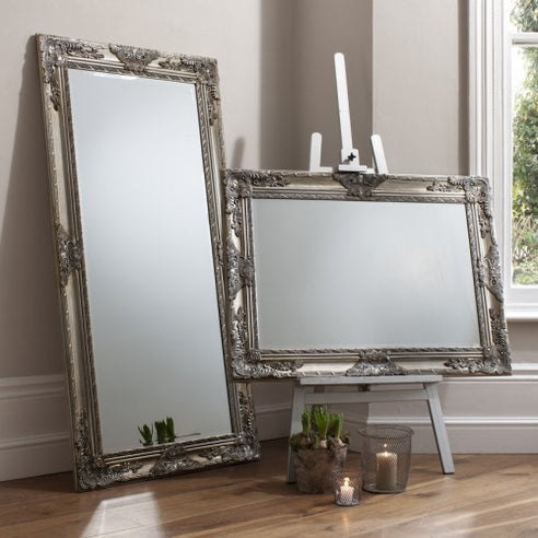 Silver french baroque floor leaner mirror - Hampshire