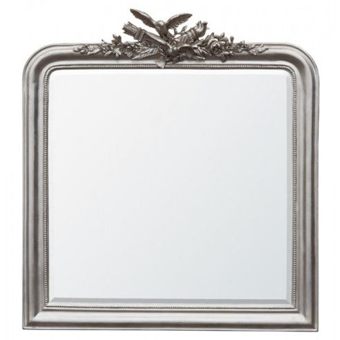 Silver gilt leaf overmantle mirror with birds