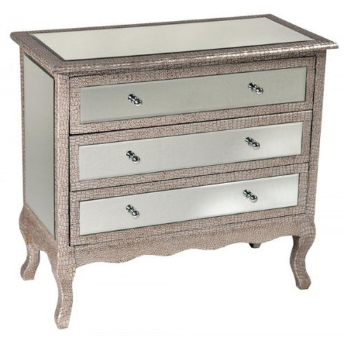 Mock croc mirrored silver chest of drawers