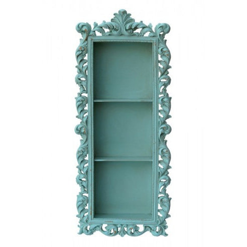 Vintage teal blue french framed shelf unit