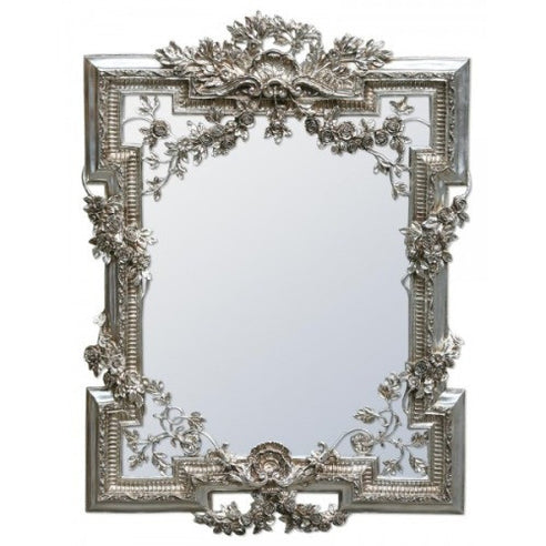 Large french rococo silver shabby chic mirror