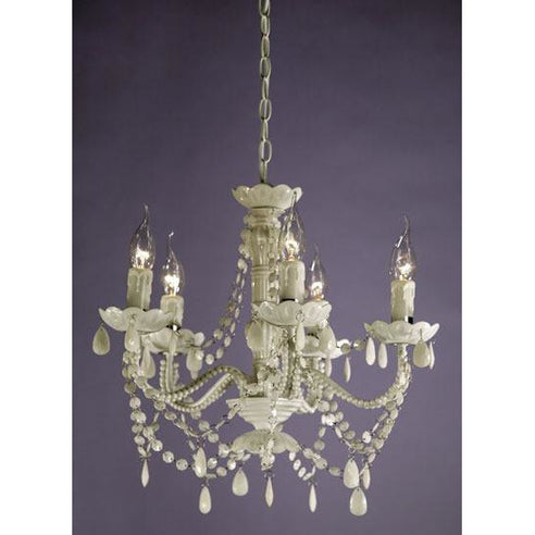 Shabby chic Marie Therese white acrylic chandelier 5 arm