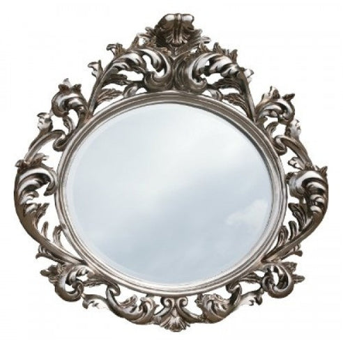 Large silver french style rococo mirror