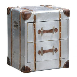 Silver Industrial Style Aluminium 2 Drawer Bedside Chest (51.5 X 43.5 X  61cm)