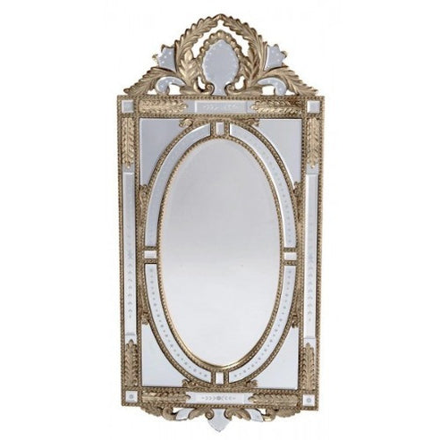 Venetian glass silver etched mirror with crown
