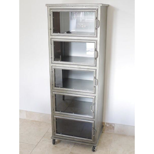 Hoxton Metal Industrial Retro Display Cabinet (54 x 43 x 153cm)