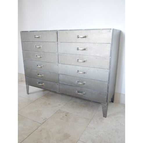 Hoxton Metal Industrial Retro Chest of Drawers (12 Drawers, 120 x 43 x 91cm)