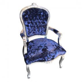 Navy Crushed Velvet French 'Louis Style' Armchair with Silver Gilt Frame