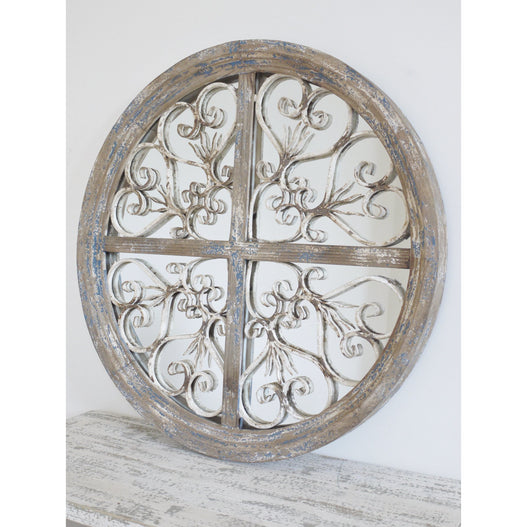 Beach House Distressed Wood Round Mirror (d72cm)