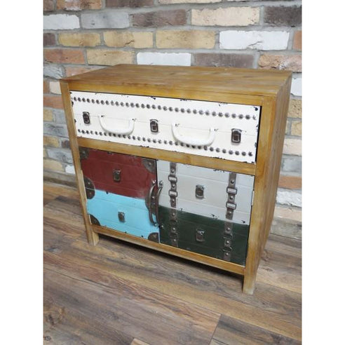 Multi Colour Metal and Wood Retro Luggage Cabinet - New Orleans (70 x 37 x 69cm)