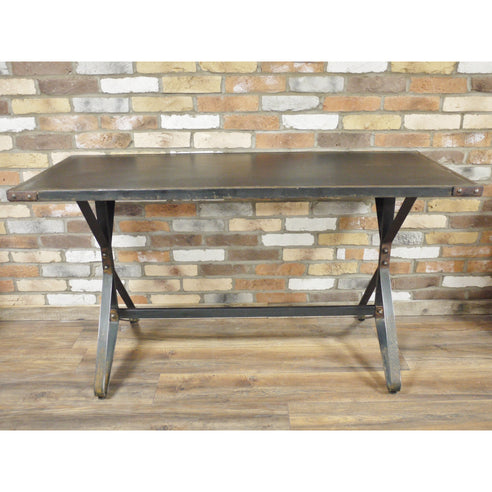 Hoxton Industrial Vintage Distressed Metal Desk / Table (152 x 64 x 82cm)