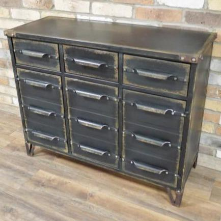 Hoxton Metal Industrial Distressed Sideboard (101 x 40 x 81cm)