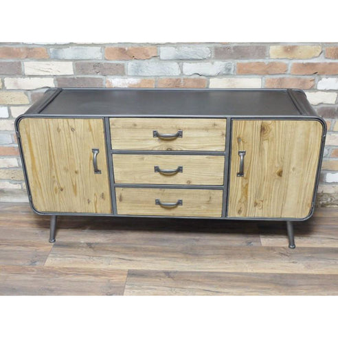 Retro Industrial 50's Style Metal/Wood Low Sideboard (130 x 40 x 67cm)
