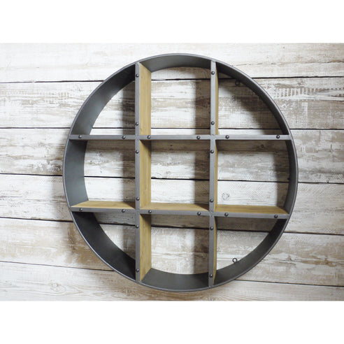 Retro Industrial 50's Style Metal/Wood Round Wall Shelf Unit (95 x 20 x 95cm)