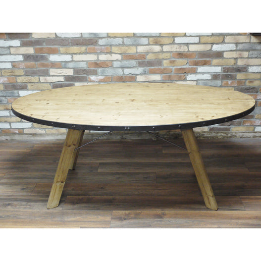 Hoxton Industrial Reclaimed Wood Oval Dining Table (180 x 101cm x 76cm)- clearance
