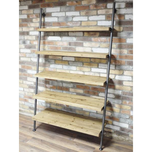 Retro Industrial Metal and Wood Ladder Style Shelves Unit (122 x 200 x 46cm)