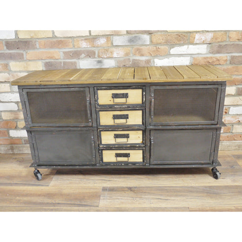 Hoxton Metal and Wood Industrial Sideboard on Wheels (125 x 41 x 68cm)
