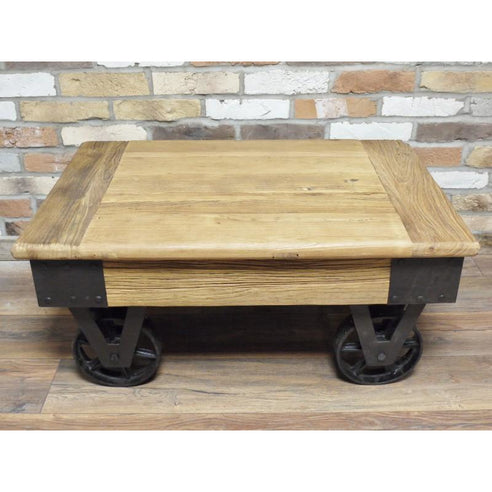 Hoxton Industrial Reclaimed Wood Wheeled Coffee Table 90 X 43cm X 60c