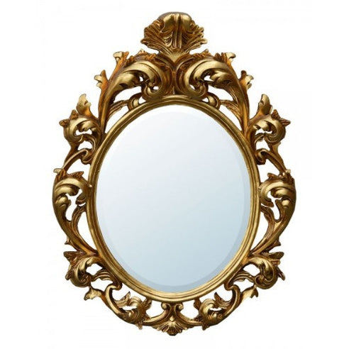 Large gold oval french vintage rococo mirror