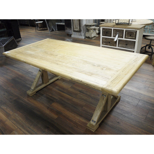 A 'Good Chunk of Wood' Distressed Dining Table in Natural Finish (200 x 100 x 80cm)