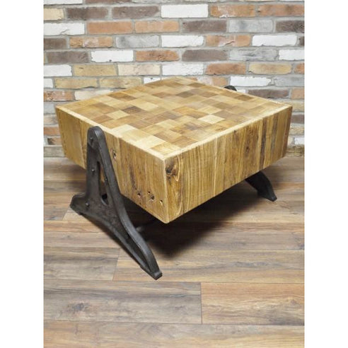 Hoxton Industrial 'Butchers Block' Reclaimed Wood Coffee Table (52 x 53cm x 76cm)