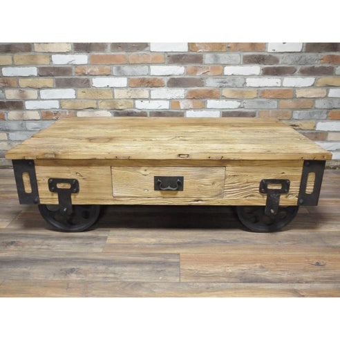 Hoxton Industrial Coffee Table with Wheels (1 Drawer, 140 x 43cm x 80cm)