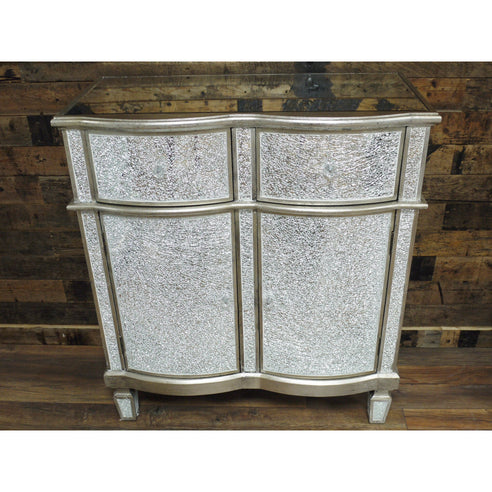 Mosaic Mirrored Silver Venetian Glass Sideboard (81 x 40 x 92cm)