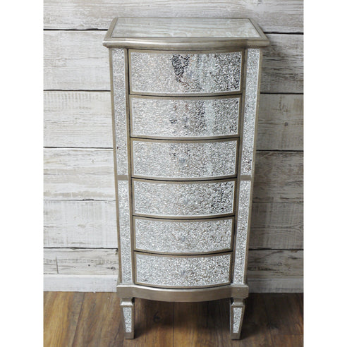 Mosaic Mirrored Silver Venetian Glass Tallboy Chest of 6 Drawers (49 x 35 x 115cm)