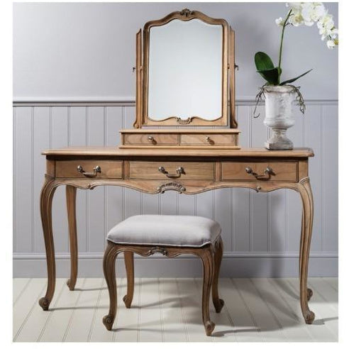 Chic Chalk Weathered French Dressing Table, Mirror, Stool Set