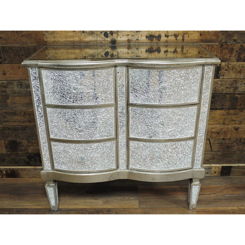 Mosaic Mirrored Silver Venetian Glass Chest of Drawers (6 Drawers, 81 x 35 x 81cm)