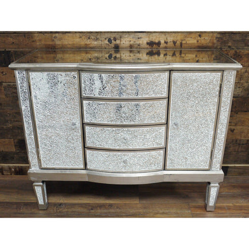Venetian mirrored silver mosaic sideboard cabinet