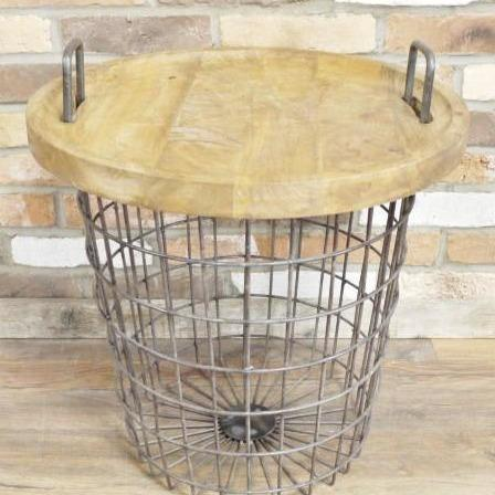 Hoxton Metal and Wood Industrial Retro Side Table (45 x 47 x 62cm)