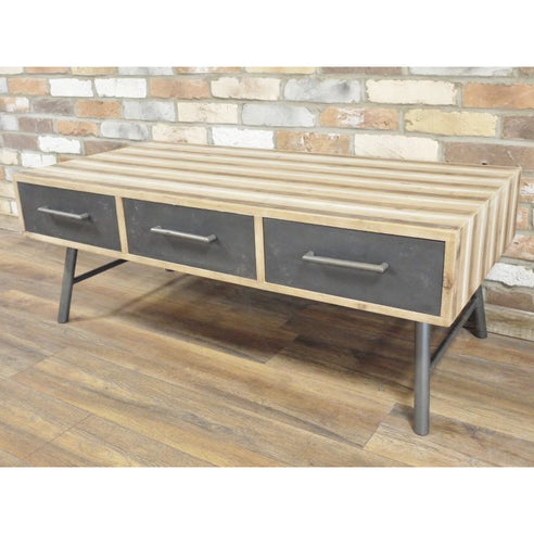 Retro Industrial 50's Style Wood/Metal Coffee Table (120 x 46 x 62cm)- clearance