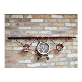 Retro Industrial Red Aeroplane 3 Clock Shelf