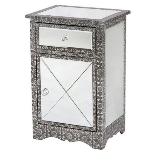 Blackened silver embossed metal mirrored bedside cabinet