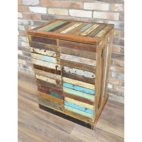 Loft Style Reclaimed Multi Coloured Wood Drinks Sideboard - Beach House (64 x 48 x 88cm)