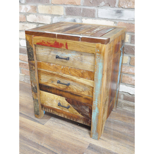 Loft Style Reclaimed Multi Coloured Wood Bedside Table - Beach House (50 x 41 x 64cm)