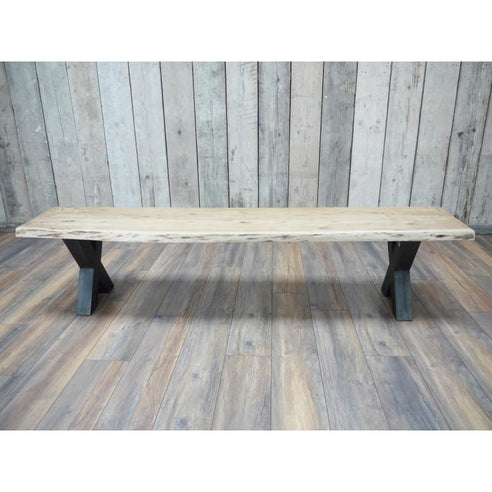 Hoxton Living Edge Acacia Wood Dining Bench in Natural Finish (200 x 42 x 46cm)
