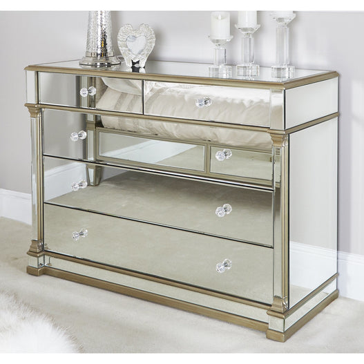 Athena Champagne Silver Mirrored 5 Drawer Chest (121 x 48 x 89cm)
