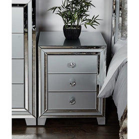 Grey Metro Mirrored 3 Drawer Bedside Chest (54 x 45 x 66cm)