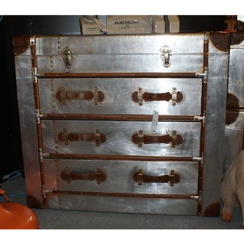 Silver industrial aluminium chest of drawers
