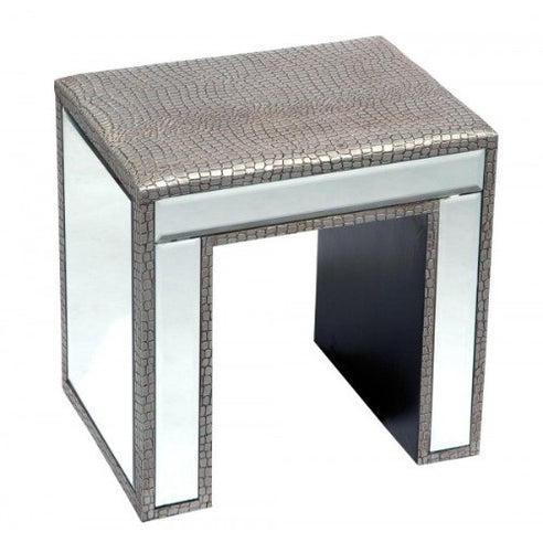 Mock croc mirrored dressing table stool