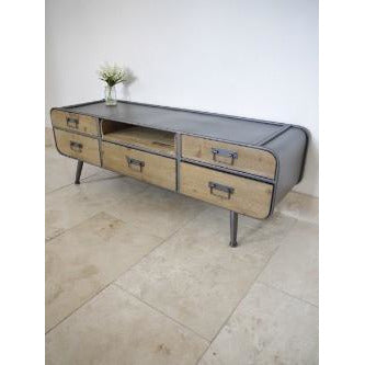 Retro Industrial 50's Style Metal/Wood TV Media Unit (134 x 39 x 45cm)